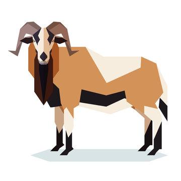 Flat geometric American Black Bellied sheep