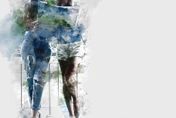 Abstract Beautiful woman traveling on street watercolor painting background.
