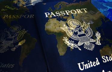 US passports on map