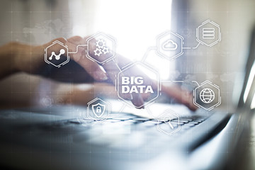 Big data technology and internet concept on the virtual screen.