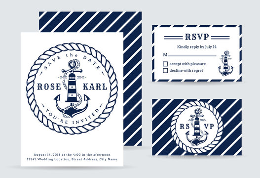 Nautical wedding invitations with anchor.