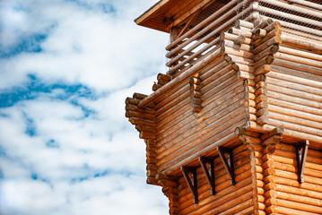 Wooden tower built of logs