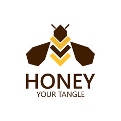 Bee label for honey, logo products, vector illustration