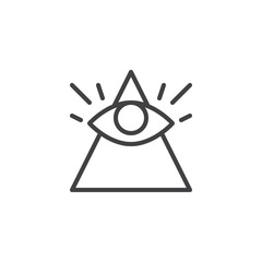 All seeing eye outline icon. linear style sign for mobile concept and web design. Magic eye simple line vector icon. Symbol, logo illustration. Pixel perfect vector graphics