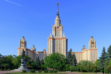 View of Moscow State University (MSU) and Monument to Lomonosov against blue sky in sunny summer evening