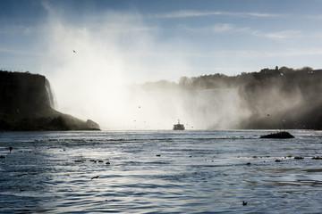 Ship close to Niagara Falls waterfall