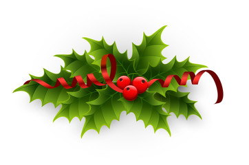 Illustration of a holly berries and tinsel on a white background.