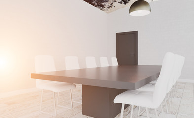 Conference room with wooden table. 3D rendering.. Sunset