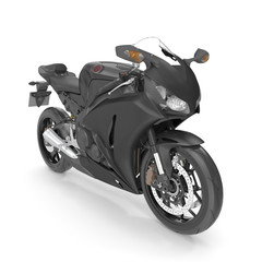 Sport motorcycle isolated on white. 3D illustration