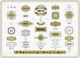 Set of original design elements, frames, borders, labels, monograms. Collection of  vector calligraphy swirls, swashes, ornate motifs, scrolls, page decoration.