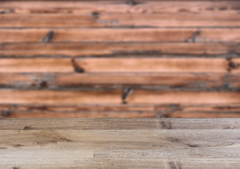 Background with empty table. Flooring The texture of the wood