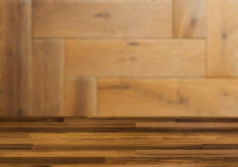 Background with empty wooden table. Flooring Texture of timbered board. Closeup.