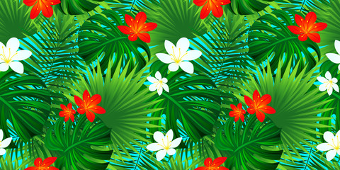 Tropical floral seamless pattern. Template flowers texture. exotic background with palm leaves, monstera leaf, jungle plants. vector illustration Botanical wallpaper. Hawaiian style. Colorful print