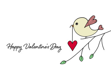 Valentines Day card. Bird carrying heart