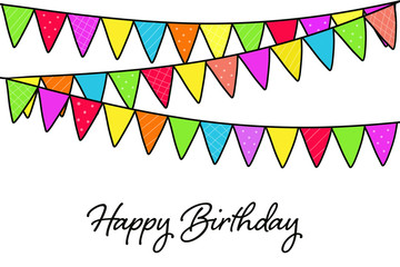 Happy Birthday card with birthday party flags
