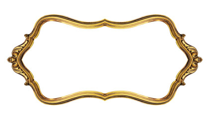 Gold vintage frame isolated on white background, included clipping path