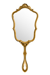 Vintage hand mirror isolated on white, included clipping path