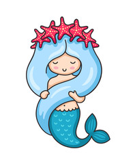 Cute mermaid with long blue hair and wreath of red starfish. Vector illustration.