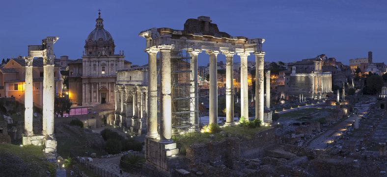 Roman Forum (Foro Romano), Temple of Saturn and Arch of Septimius Severus, Rome, Lazio