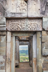 A lintel on a Khmer temple on Chi Sor Mountain in Takeo, Cambodia, Indochina, Southeast Asia, Asia