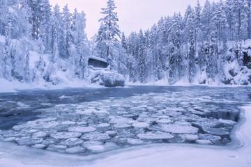 Myllykoski rapids and old mill, Juuma, Oulanka National Park, Kuusamo, Lapland, Finland, Europe