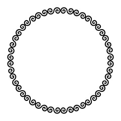 Circle frame with Celtic double spirals. Interlocked and combined double spirals with two turns. Decorative border, constructed from lines, shaped into repeated motif. Illustration over white. Vector.