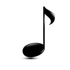 Shiny black music note icon music vector illustration