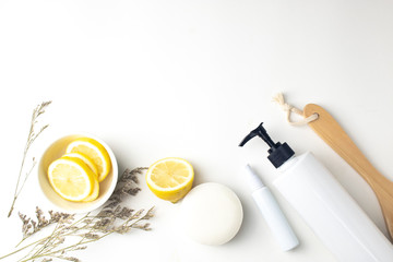 Fototapeta lemon fruit extract with natural beauty soap for facial skincare and flora caspia flower on white background