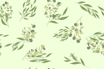 Elegant Eucalyptus Seamless Pattern in Pastel Color Design. Watercolor Style. Vector Leaves, Palm Fern Branches and Herbal Bouquet. Greenery of Rustic Wedding. Eucalyptus Pattern for Decoration, Print