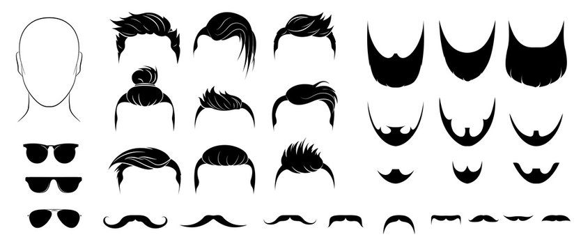 Set of mens hairstyles, beards, mustaches and glasses