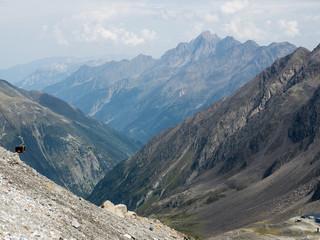 View from the Stubai Glacier (Stubaier gletscher) in the Austrian Alps, Stubai Valley (Stubaital), Tyrol, Austria, Europe