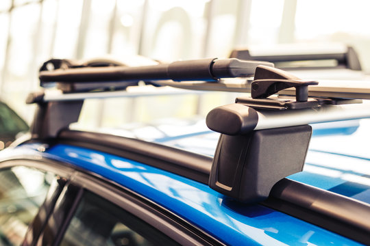 Car roof rack. Modern car. Blue car. Close-up