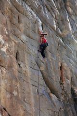 A rock climber at El Chorro, Andalucia, Spain, Europe