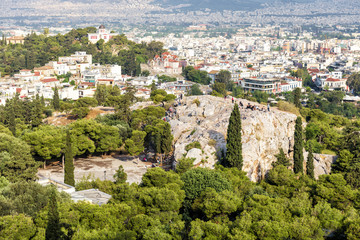 Fototapete - Scenic panoramic view of Athens with Areopagus, Greece