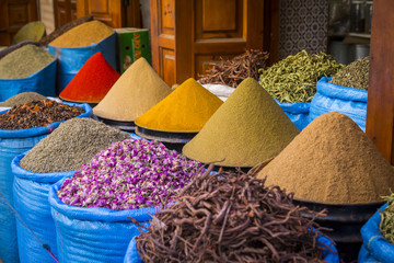 Bags of herbs and spices for sale in souk in the old quarter, Medina, Marrakesh, Morocco