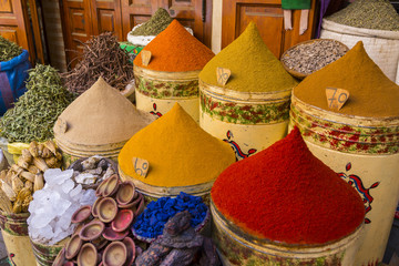 Bags of herbs and spices for sale in souk, Medina, Marrakesh, Morocco