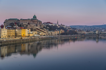 Budapest Castle reflecting in Danube River, Budapest, Hungary