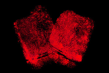 Two red fingerprints on black background