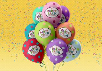 Party Balloons Mockup