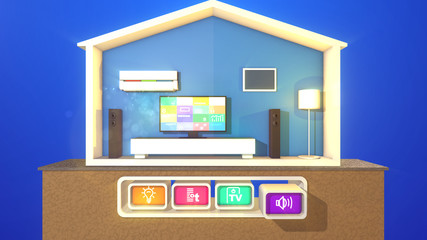 Smart house and three pressed icons