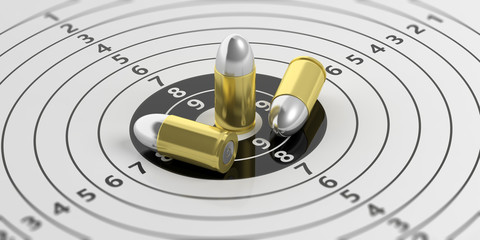 Bullets on shooting target with numbers. 3d illustration