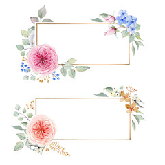 watercolor flower circle frame.