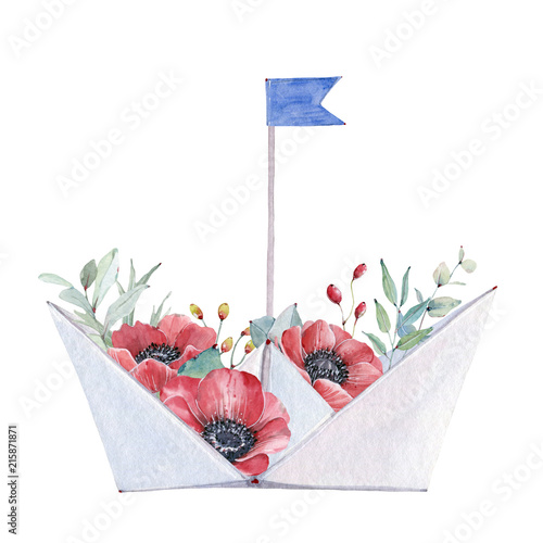 Watercolor Paper Boat With Flowers Stock Photo And Royalty Free
