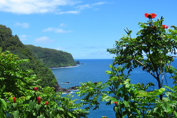 Scenic lookout over the deep blue water  of Nua'ailua Bay, a stop along the famous, scenic and winding road to Hana, Maui, Hawaii
