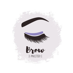 Brows and lashes lettering. For beauty salon, lash extensions maker, brow master.