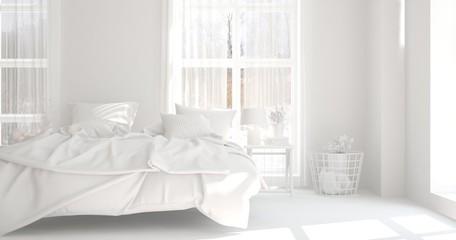 White modern bedroom. Scandinavian interior design. 3D illustration