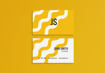 Yellow Abstract Business Card Layout