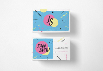 80s Style Business Card Layout