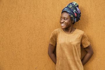 Content girl in ethnic headwear
