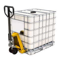 Hydraulic pallet jack with white intermediate bulk container, 3D rendering